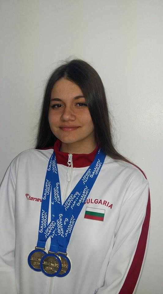 Камелия Стоименова СК Шампион отново с три златни медала в брустовите дисциплини от Лондонския Плувен Шампионат 4.